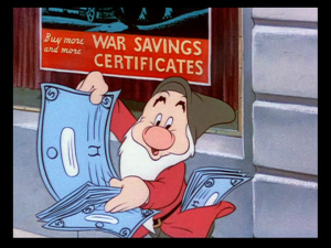 Even Grumpy comes out of the post office happy as he carries his war bonds