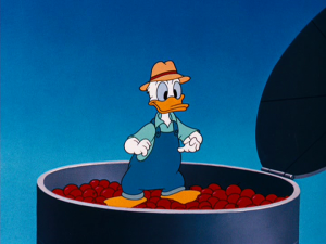 Donald stands on top of the apple silo after placing the apples Chip and Dale stole inside