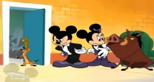Mickey and Minnie watch as Timon and Pumbaa fight over their act