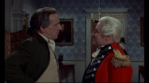 General Pugh (R) and Squire Banks do not see eye to eye, particularly with Pugh's suggested violent methods