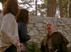 Philip and Conrad meet with Cardaggian, believing him to be Robin Hood, as he knows the secret code words