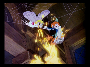 The boy moth tries desperately to free his girlfriend, with the flame always close behind