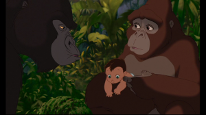 Kala tells Kerchak her intentions of adopting the baby as her own, but he refuses to accept the child
