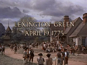 The militia gathers in Lexington Green for the first battle of the Revolutionary War