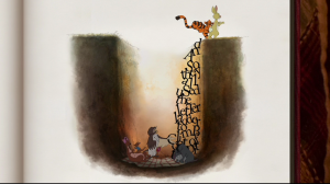 Pooh uses letters to help everyone get out of the Backson pit