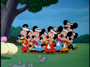 All of Mickey's nephews arrive for the party, bringing Pluto a large bone-shaped present