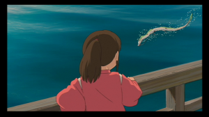 Chihiro sees Haku getting attacked by the paper birds