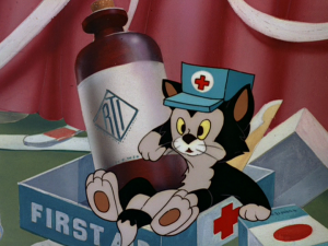 Figaro gets thrown into the first aid kit, and is blamed for making a mess