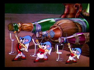 The mice are ready to open champagne, unaware that Captain Katt is sleeping nearby