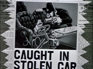 After a drastic attempt to feed his new mania, Toad is found and arrested for driving a stolen car