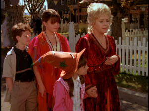 As they travel through Halloweentown, Aggie explains how the town came to be
