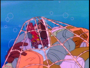 Chip and Dale push against the bottle to free themselves from the net