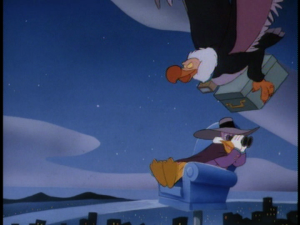 As Darkwing searches for danger, a suspicious condor flies past him carrying a trunk