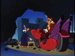 Just when things look hopeless for Darkwing, Launchpad appears and saves the day