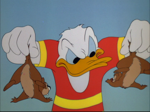 Donald corners the chipmunks after they start toying with him and the diving board