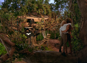 After she passes out, George takes Ursula back to his treehouse to recover