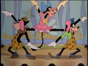 Clarabelle Cow, Horace Horsecollar, and Goofy begin their interesting ballet