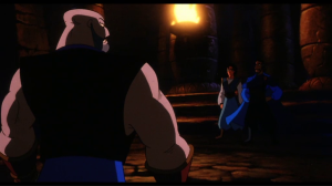 Aladdin is taken to the Challenge Area, where he is to fight Sa'luk to the death