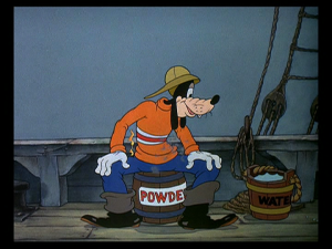 Goofy unwittingly sits of the barrel of gunpowder, thinking that he was sitting on the bucket of water