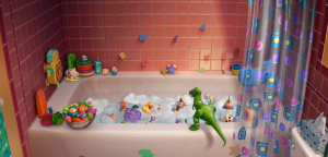 """Rex turns on the water to start the party for the bath toys, earning his name """"Partysaurus Rex"""""""