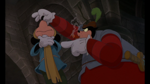 The Captain plans to keep the Prince locked in the dungeon while Mickey takes the crown