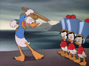 Finding that his nephews tricked him, Donald takes away their chevrons and weapons, dismissing them from his service