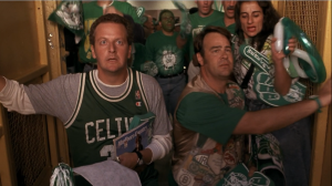 Flaherty and O'Hara arrive at the game, all decked out in their Celtics gear