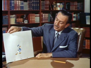 Walt introduces a recently drawn Donald, asking him to be his volunteer